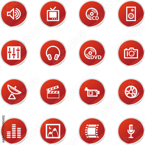 red sticker media icons