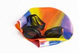 swimming cap & goggles poster