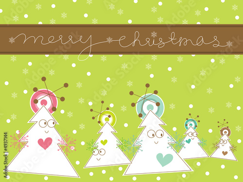 cartoon whimsical christmas tree greeting