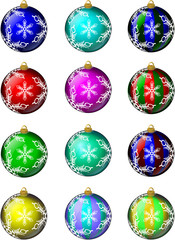 Glass Christmas Ornaments Set #1 Snowflakes