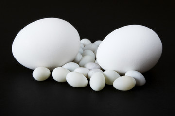 Eggs on Black Background