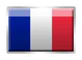 French Tricolore flag metal enamelled badge poster