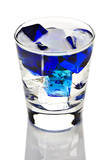 Clear beverage with blue ice cubes poster