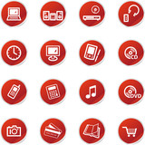 red sticker home electronics icons poster
