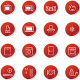 red sticker household appliances icons poster