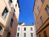 Immeubles lyonnais, ceile bleu, France poster