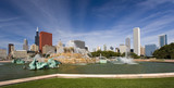 Chicago panorama with Buckingham Fountain in the foreground. poster