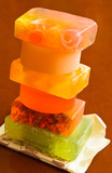 Stack of handmade soaps poster