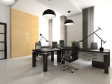 Interior of the cabinet in office 3D rendering. You can hang you poster