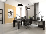 Interior of the cabinet in office 3D rendering poster