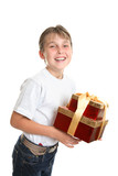 Merry child carrying presents poster