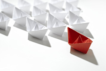 isolated leader paper ship
