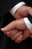 The hands of a businessman waiting a decision poster