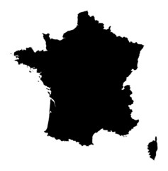 Detailed b/w map of France
