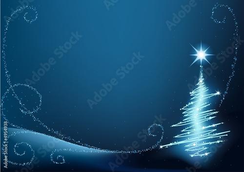 Blue Christmas Tree - christmas background