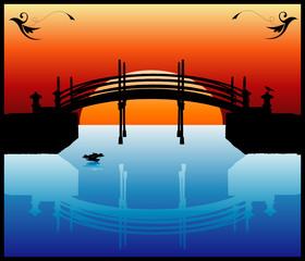 atardecer de un puente en vector
