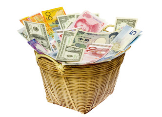 Basket full of currency notes of various countries..