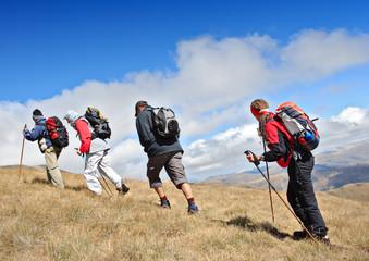 Alpine expedition going towards the peak Korab, Macedonia