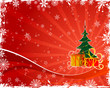 Abstract christmas background with tree and gift, vector
