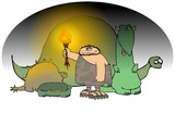 Caveman With A Torch And Dinosaurs poster