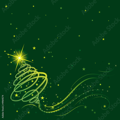 poster of shining christmas tree, vector illustration