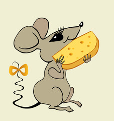 The sitting mouse eats the big piece of cheese