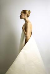 elegante girl with sheet of paper