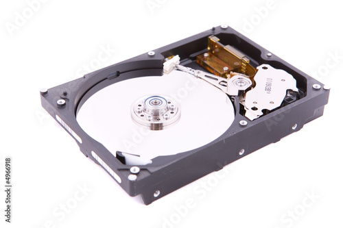 Hard disk on white background