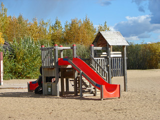 Playground on a beach in a park