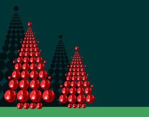 Sapins et boules de Noël
