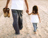 Daddy Walking through the Sand with his Little Girl - Fine Art prints