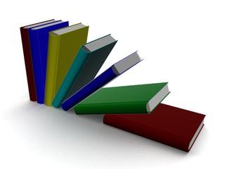 Falling books. 3D image.