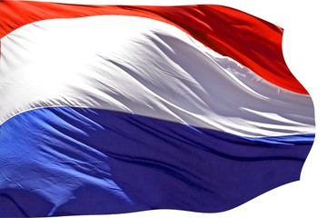 Dutch flag blowing in the wind isolated on white