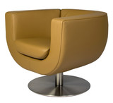 Leather lounge armchair with metal base poster