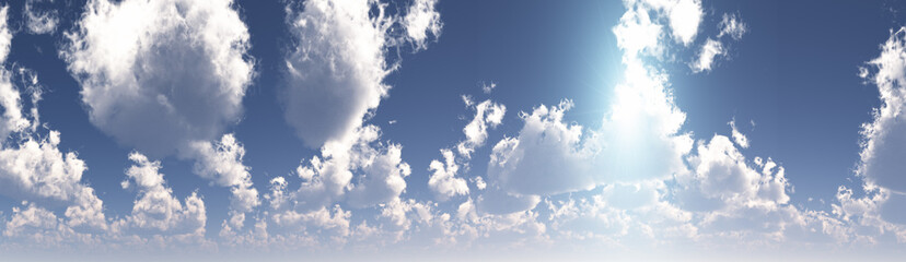 panorama with clouds and blue sky