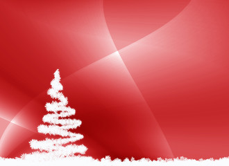 fond rouge et sapin