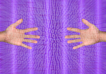 hands and binary code