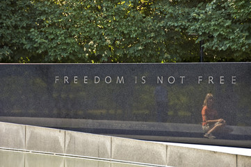 Memorial wall in Arlington cemetery  - freedom is not free