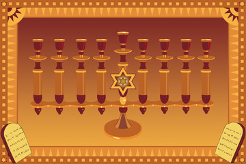 Decorative Menorah and stylized plates with 10 commandments