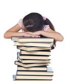 girl asleep on books poster