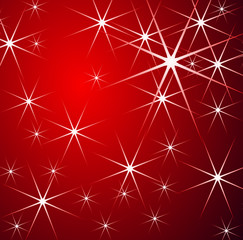 Stars - Christmas red background