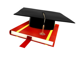 graduation hat on the book