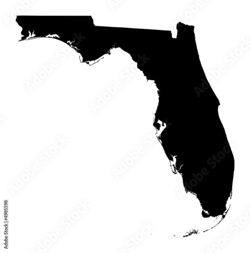 Detailed b/w map of Florida, USA