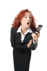 beauty business anger woman scream  into cell phone