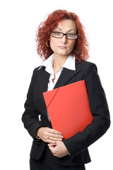 business woman in glasses with red folder