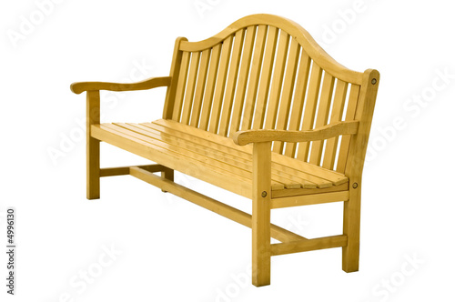 Real wooden bench. Isolated on white.