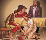 Jesus washes legs to the pupil poster