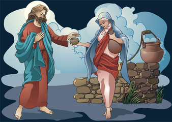 Samaritan gives water to the Christ