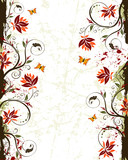 Fototapety Grunge paint flower background with butterfly, vector