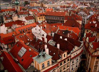 Red roofs of Prague city, Czech Republic